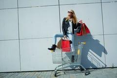 Mädchen, das im Warenkorb steht Stockbilder