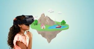Mädchen, das Kopfhörer der virtuellen Realität mit digital erzeugten Ikonen 4k verwendet vektor abbildung