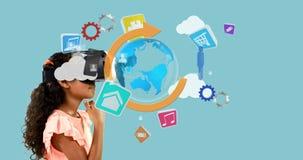 Mädchen, das Kopfhörer der virtuellen Realität mit digital erzeugten Ikonen 4k verwendet stock video footage