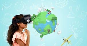 Mädchen, das Kopfhörer der virtuellen Realität mit digital erzeugten Reiseikonen 4k verwendet stock abbildung