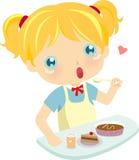 Mädchen, das Kuchen isst stock abbildung