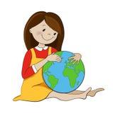 Mädchen, das Kugelkarikatur-Vektorillustration umarmt lizenzfreie abbildung
