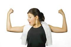 Mädchen, das mit dem Tuch trainiert Lizenzfreies Stockbild