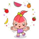 Mädchen, das mit Frucht spielt vektor abbildung