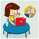 Mädchen, das mit Großeltern plaudert lizenzfreie abbildung