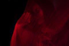 Mädchen, das mit rotem Gewebe aufwirft Lizenzfreies Stockbild