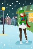 Mädchen, das mitten in Winternacht steht Stockbilder