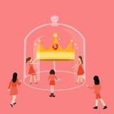 Mädchen, das nach Krone in einem Glaswettbewerb sucht Lizenzfreies Stockfoto
