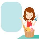 Mädchen, das Produkt mit Spracheblase zeigt Stockfotos