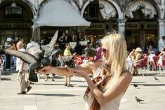 Mädchen, das Tauben im Marktplatz San Marco Venice Italy hält lizenzfreie stockfotografie