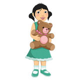 Mädchen, das Teddy Bear Vector Illustration umarmt stock abbildung