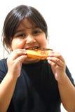 Mädchen, das Toast isst Stockfotografie