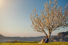 Mädchen, das unter dem blühenden Baum sitzt Lizenzfreie Stockbilder
