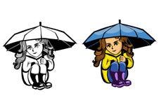 Mädchen, das unter einem Regenschirm sitzt Stockfotografie