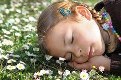 Mädchen, das unter Gänseblümchen schläft Stockbilder