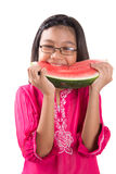 Mädchen, das Wassermelone IV isst Lizenzfreies Stockbild