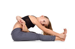 Mädchen, das yog tut stockbilder