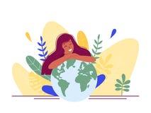 Mädchen, das an Zukunft von Erde sitzt und umarmt Planeten und denkt Flache Konzeptvektorillustration für Webseite, Flieger, Plak lizenzfreie abbildung
