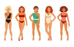 Mädchen in den Bikinis vektor abbildung