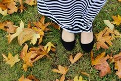 Mädchen in den Blättern Lizenzfreie Stockfotos