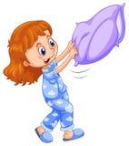 Mädchen in den blauen Pyjamas mit purpurrotem Kissen lizenzfreie abbildung