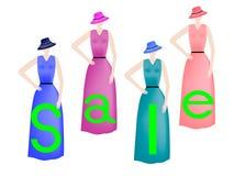 Mädchen in den bunten Kleidern stock abbildung