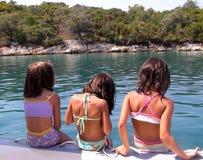 Mädchen an den Feiertagen in Griechenland Stockfotografie