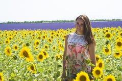Mädchen in den Feldsonnenblumen Stockbild