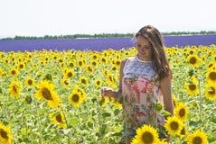 Mädchen in den Feldsonnenblumen Lizenzfreies Stockfoto
