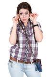 Mädchen in den Gläsern Stockfotografie