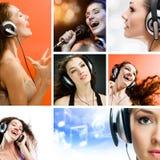 Mädchen in den Kopfhörern Stockfoto