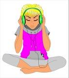 Mädchen in den Kopfhörern vektor abbildung