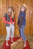 Mädchen in den lustigen Gesichtern des Stalles Stockfotografie