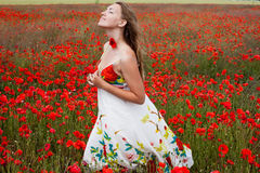 Mädchen in den Mohnblumen Stockfotos