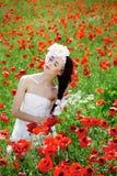 Mädchen in den Mohnblumen stockbild