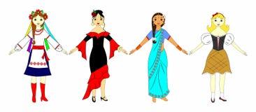 Mädchen in den nationalen Kostümen Stockfoto