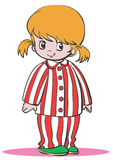 Mädchen in den Pyjamas stock abbildung