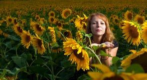 Mädchen in den Sonnenblumen Lizenzfreie Stockfotografie