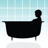 Mädchen in der Badewannenvektorillustration Stockfotos
