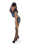 Mädchen in der Jeansjacke Lizenzfreies Stockbild
