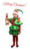 Mädchen in der Klage der Weihnachtselfe mit Lampe auf Weiß Stockbild