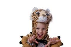 Mädchen in der Klage des Tigers lizenzfreie stockfotos