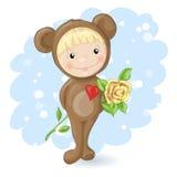 Mädchen in der Klage eines Teddybären mit einer Rose Stockfoto