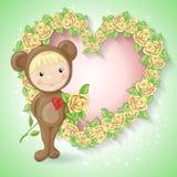 Mädchen in der Klage eines Teddybären mit einer Rose Stockbild
