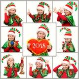 Mädchen in der Klage der Weihnachtselfe über Weiß Stellen Sie von den Fotos ein lizenzfreies stockfoto