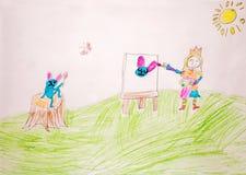 Mädchen in der Krone zeichnet ein Häschen stockfotografie