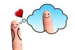 Mädchen in der Liebe den Jungen denkend, an lokalisiert mit Beschneidungspfaden Lizenzfreie Stockbilder
