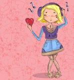 Mädchen in der Liebe mit Herzen von der nahtlosen Hand des Gekritzels gezeichnet Stockfotos