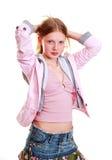 Mädchen in der modischen Kleidung stockfoto