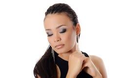 Mädchen der Mulatte mit einem schönen Make-up stockbild